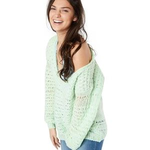 Free People Crashing Waves Sweater in Mint NWT